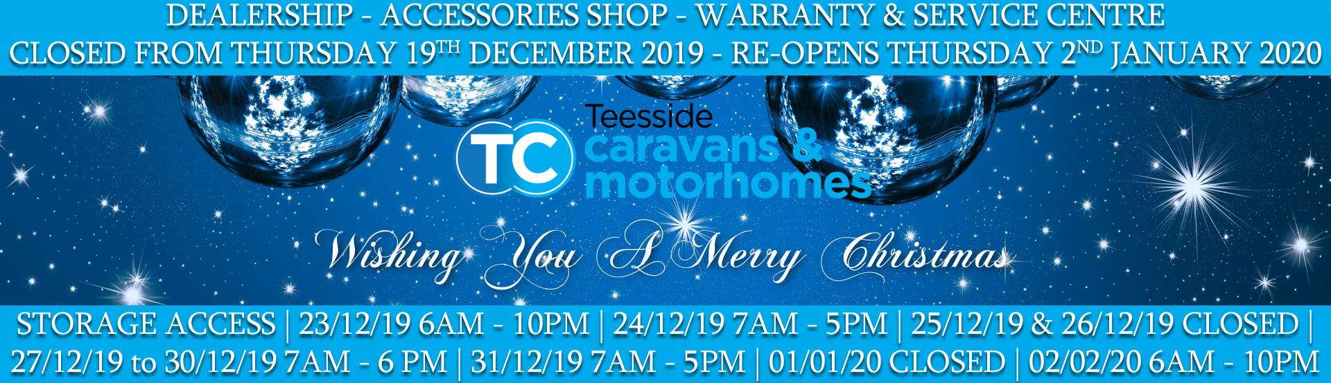 Teeside Caravans Christmas Opening Times