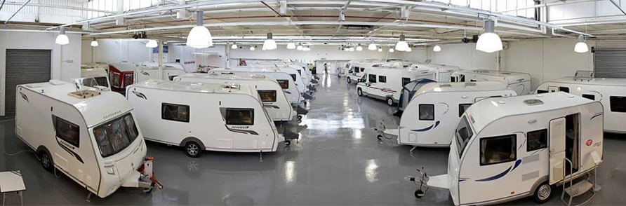 Indoor showroom at Teesside Caravans
